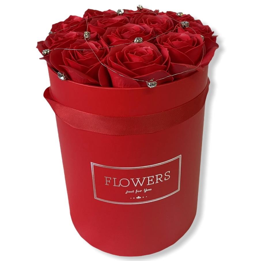Červený kvetinový box Red Roses, veľ.L