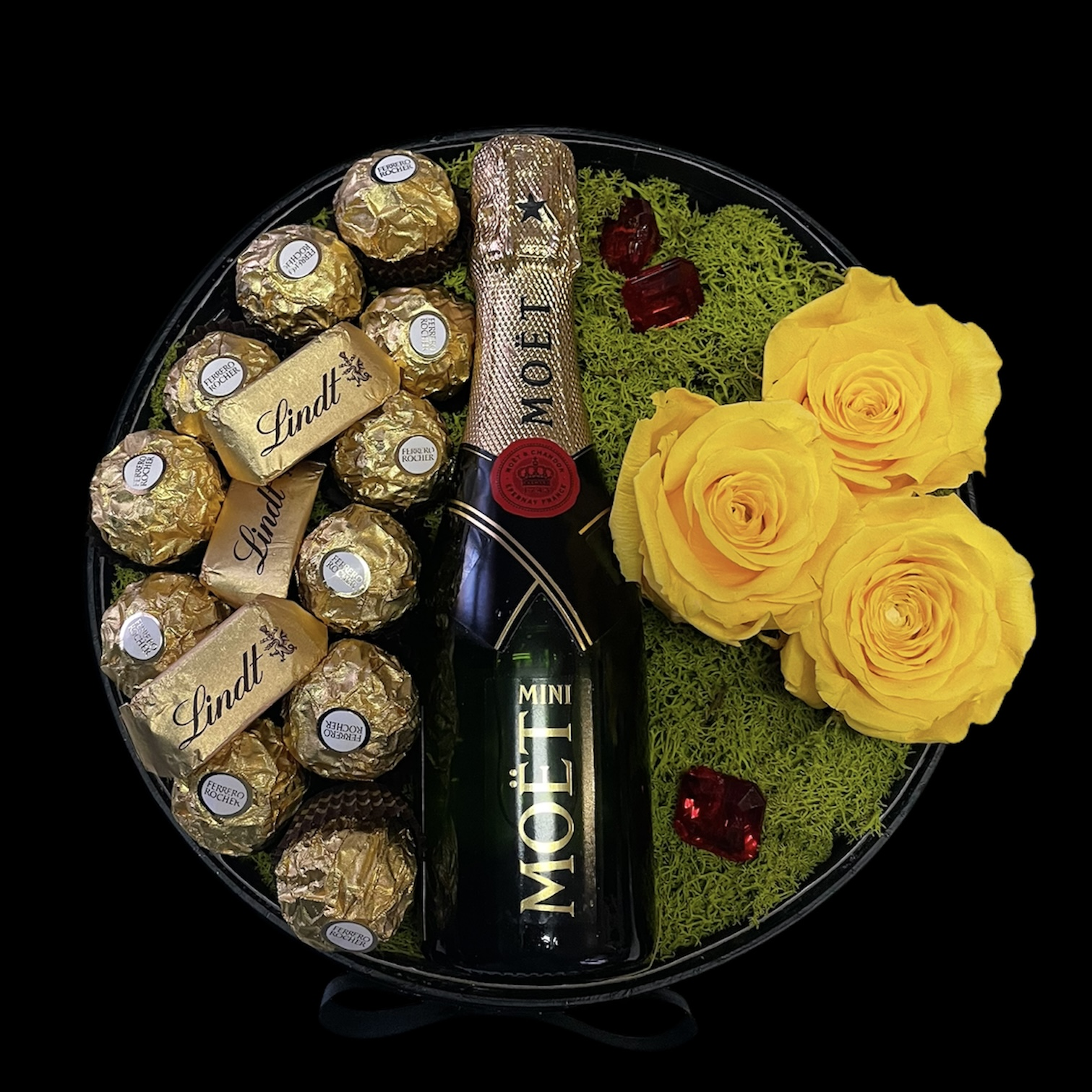 Luxusný flower box s trvácnymi ružami a šampanským