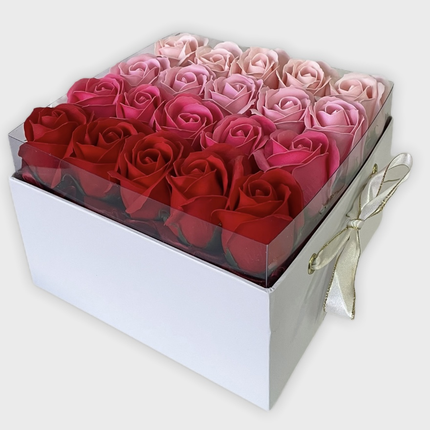 Luxusný kvetinový box Pink Roses Rainbow