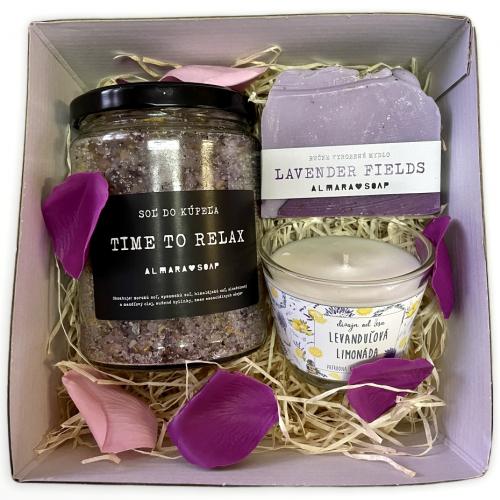 Darčeková krabička s levanduľovými prírodnými produktami