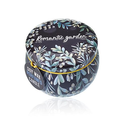Sójová sviečka v plechovke - kolekcia Romantická záhrada