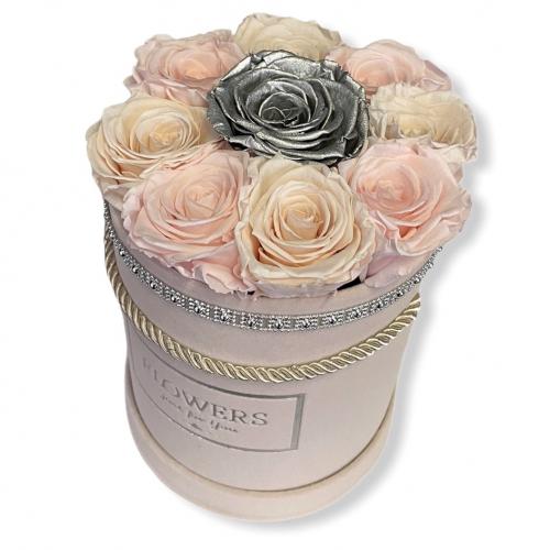 Luxusný sametový box s večnými ružami
