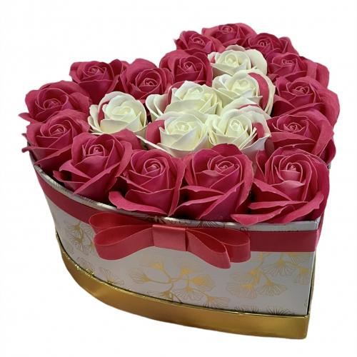 Luxusný kvetinový box v tvare srdca Marble Heart