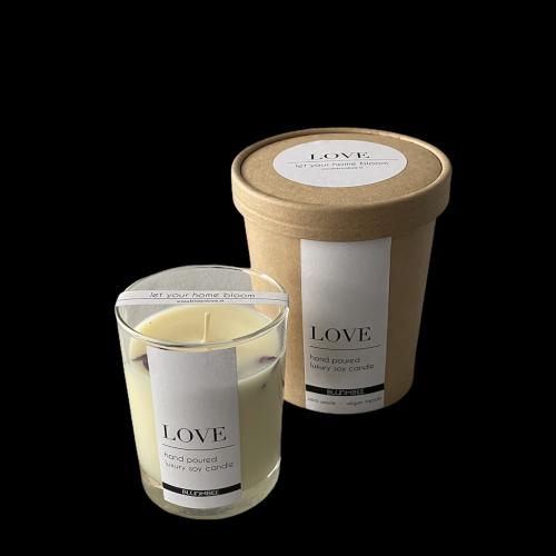 Sójová sviečka so sušenými kvetmi, 200g - Love