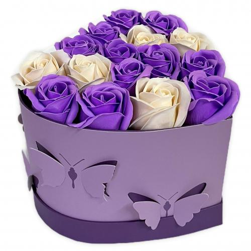 Flower box v tvare srdca Lavender Butterfly