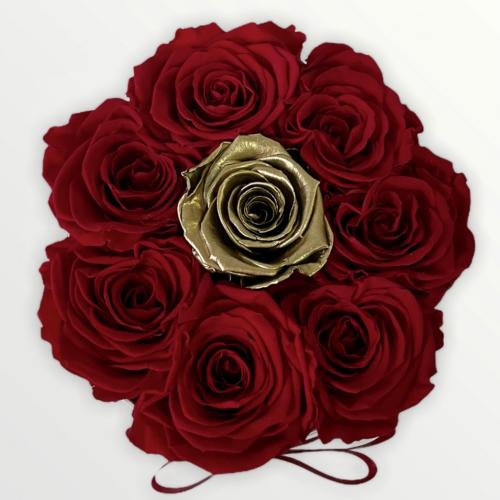 Luxusný biely flower box s veľkými červenými ružami