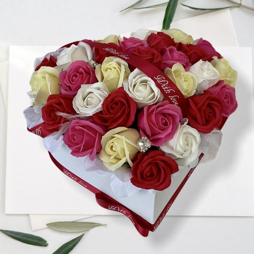 Veľký kvetinový box v tvare srdca So pretty