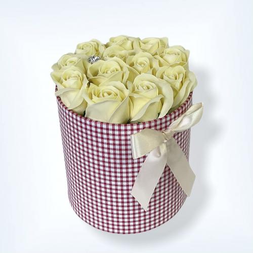 Károvaný flower box Baby Pink