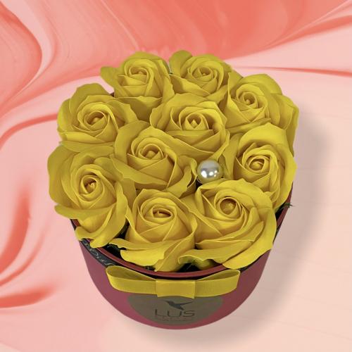 Kvetinový box so žltými ružami Suzi