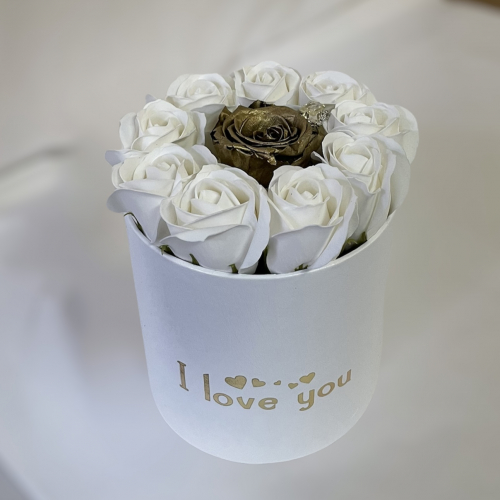 Biely box s potlačou I love you a luxusnou zlatou ružou
